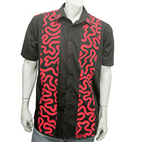 Red squiggle on black shirt