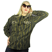 Green army jacket with squiggle pattern and fake fur trim
