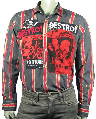 Red and black striped No Future shirt with patches