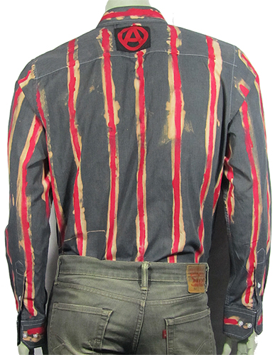 Red and black striped No Future shirt with patches back view