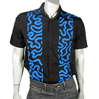 Blue squiggle on black shirt